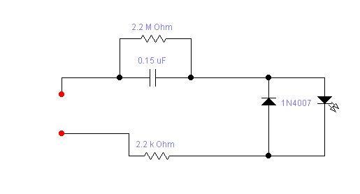 5. Подключение светодиода на 220 в.